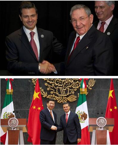 Nuevas relaciones, viejas prácticas. En la imagen superior, Enrique Peña Nieto y Raúl Castro. En la imagen inferior, Xi Jinping y Peña Nieto.